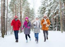 Groupe d'hommes et de femmes de sourire dans la forêt d'hiver Photo stock