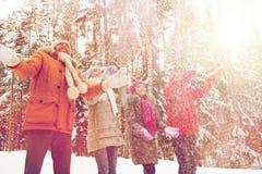 Groupe d'hommes et de femmes de sourire dans la forêt d'hiver Image libre de droits