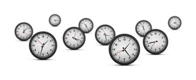 Groupe d'horloges sur le fond blanc Image libre de droits