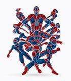 Groupe d'illustration d'action de super héros illustration libre de droits