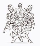Groupe d'illustration d'action de super héros illustration de vecteur