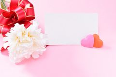Groupe d'oeillet de jour du ` s de mère de mai de bouquet de fleurs avec la vue supérieure de carte cadeaux, vide pour le texte Image libre de droits