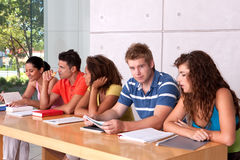 Groupe d'étude heureuse d'étudiants Image stock