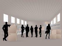 Groupe dans l'entrepôt Image libre de droits