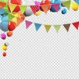 Groupe de ballons brillants d'hélium de couleur avec la page vide d'isolement illustration libre de droits