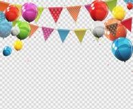 Groupe de ballons brillants d'hélium de couleur avec la page vide sur le fond transparent Illustration de vecteur illustration libre de droits