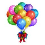 Groupe de ballons colorés réalistes d'hélium d'isolement sur le blanc illustration de vecteur
