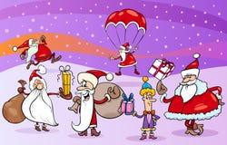Groupe de bande dessinée de clauses de Santa Photos stock