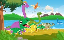 Groupe de bande dessinée de dinosaure avec le fond préhistorique illustration stock