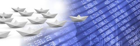 Groupe de bateaux de papier sur des nombres de statistique Image stock