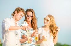 Groupe de bière potable heureuse des jeunes sur Photo libre de droits
