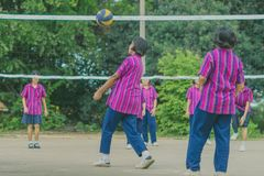 Groupe de bonheur d'amis adolescents jouant le volleyball Photos stock