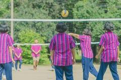Groupe de bonheur d'amis adolescents jouant le volleyball Image libre de droits