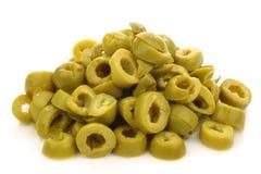 Groupe de boucles d'olive verte de coupure images stock