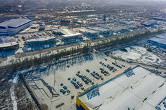Groupe de boutiques de voiture dans Tyumen Russie Photo libre de droits