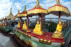 Groupe de Buddhas d'or à la pagoda de Kyaikhtiyo Photo libre de droits