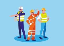 Groupe de caractère d'avatar de valeurs industrielles de travailleurs