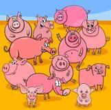 Groupe de caractères d'animal de ferme de porcs de bande dessinée illustration stock