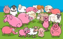 Groupe de caractères d'animal de ferme de porcs et de moutons illustration stock