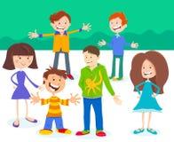 Groupe de caractères d'enfants et d'adolescents de bande dessinée illustration de vecteur