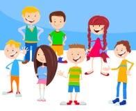 Groupe de caractères d'enfants et d'années de l'adolescence de bande dessinée illustration stock