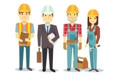 Groupe de caractères de constructeur de vecteur d'équipe de travailleurs de la construction illustration de vecteur