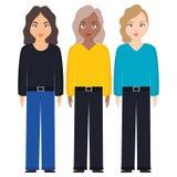 Groupe de caractères de diversité de femmes illustration stock