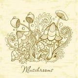 Groupe de champignons décoratifs Illustration mignonne de champignons, collection tirée par la main Photo libre de droits