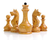 Groupe de chessmen blancs Photographie stock libre de droits