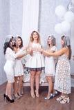 Groupe de cinq amis féminins élégants heureux Photographie stock