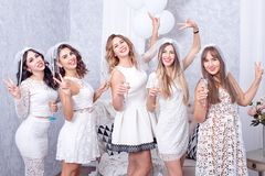 Groupe de cinq amis féminins élégants heureux Photos libres de droits