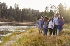 Groupe de cinq amis heureux marchant près d'un lac rural Image libre de droits