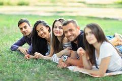 Groupe de cinq amis se situant dans la rangée en parc Photo libre de droits