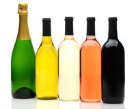 Groupe de cinq bouteilles de vin Photographie stock libre de droits