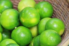 Groupe de citron vert organique frais d'agrume de chaux dans le plateau en bois, au marché de produits frais sur la section asiat Photographie stock libre de droits
