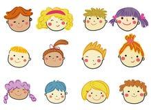 Groupe de collection de visage d'enfants illustration de vecteur