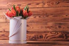 Groupe de Colorfull de tulipes dans une boîte ronde Image stock