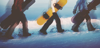 Groupe de concept extrême de ski de surfeurs Photos libres de droits