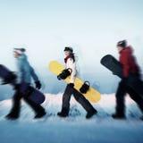 Groupe de concept extrême de ski de surfeurs images stock