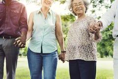 Groupe de concept supérieur de bonheur d'amis de retraite Photos libres de droits