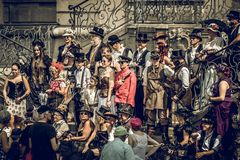 Groupe de convention de Steampunk image stock