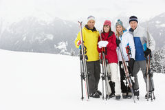 Groupe de couples âgés moyens des vacances de ski Image libre de droits