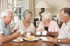 Groupe de couples supérieurs appréciant le thé d'après-midi ensemble à la maison Image libre de droits