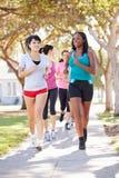 Groupe de coureurs féminins s'exerçant sur la rue suburbaine Images stock