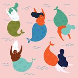 Groupe de créatures sous-marines mythiques sirènes illustration de vecteur