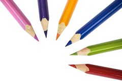 Groupe de crayons sur le blanc Photographie stock