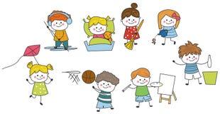 Groupe de croquis d'enfants images libres de droits