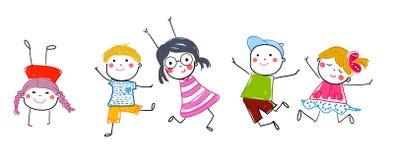Groupe de croquis d'enfants sautants Images stock