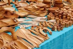 Groupe de cuillères et de paraboloïdes en bois Photos libres de droits