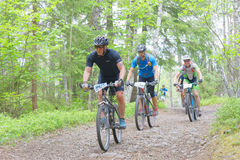 Groupe de cyclistes de vélo de montagne dans la forêt faisant un cycle en descendant Image stock